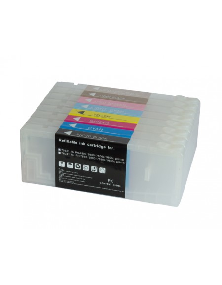 Lot of 8 Empty Refillable ink cartridges for Epson Stylus Pro 7800 9800 with Resettable chip 350ml